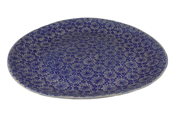 Blue Round Serving Plate with Lace Design