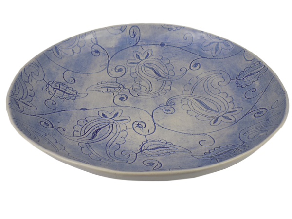Blue Serving Plate with Paisley Design