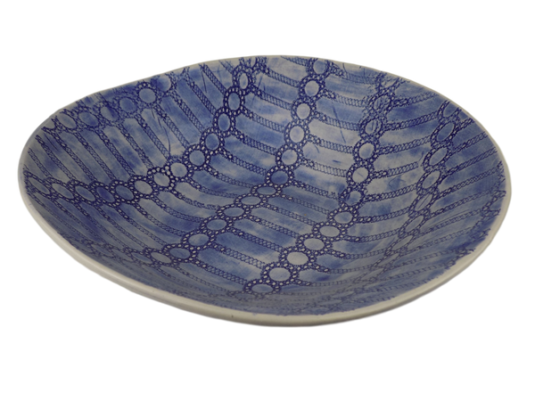 Blue Salad Bowl With Circles Design