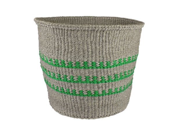 Green & Grey Striped Sisal Basket