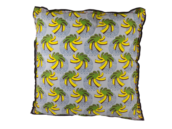Green, Yellow and Grey Malawian Cushion