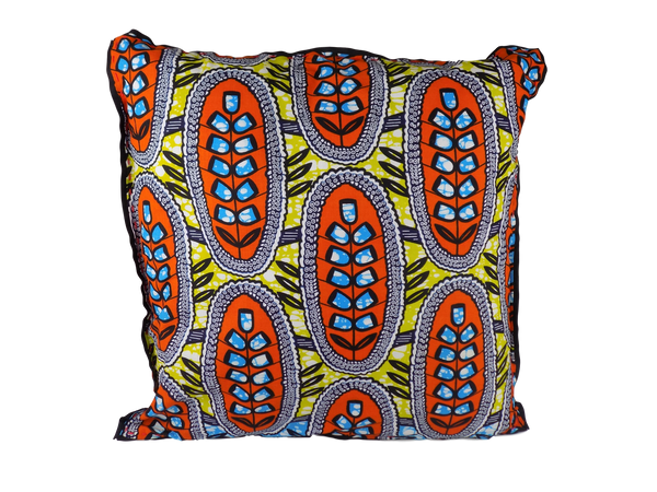 Orange, Yellow, Grey and Blue Malawian Cushion