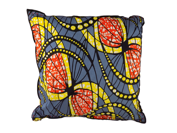 Grey, Orange and Yellow Malawian Cushion