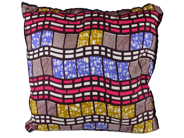 Blue Pink and Grey Malawian Cushion
