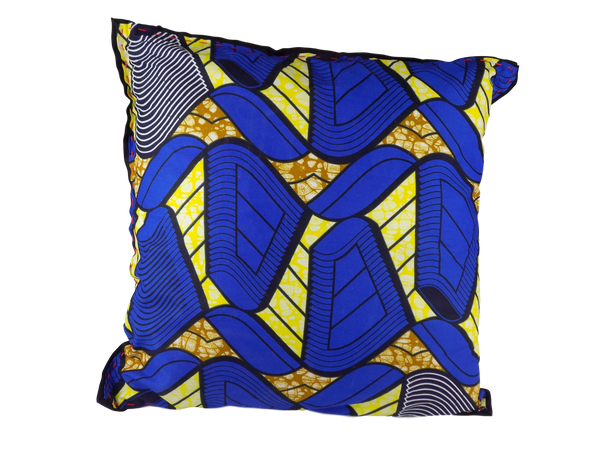 Blue and Yellow Malawian Cushion