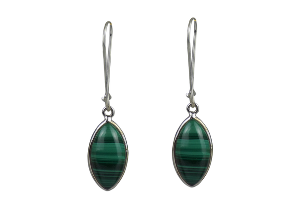 Large Pointed Teardrop Earrings Malachite and Silver