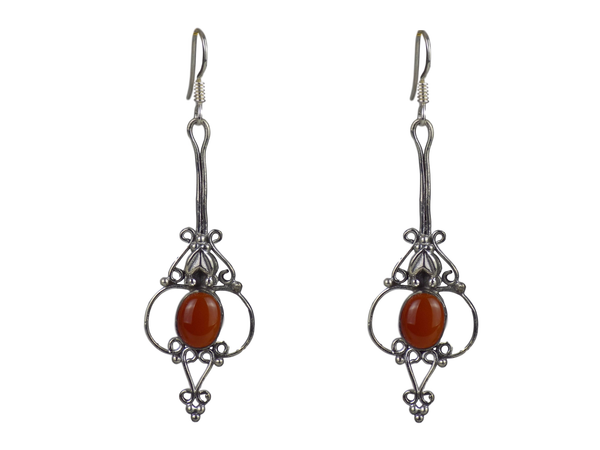 Long Drop Silver Cage Earrings Carnelian