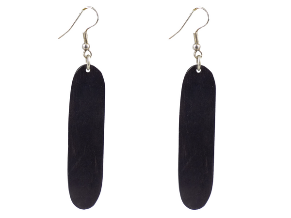 Black Wood & Silverplate Brass Earrings