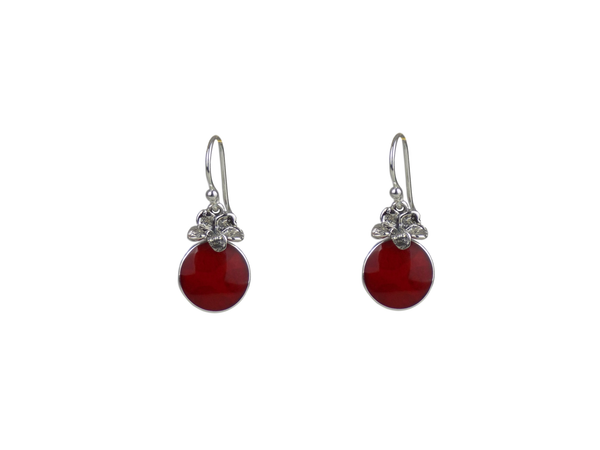 Coral and Sterling Silver Earrings in Berry Shape
