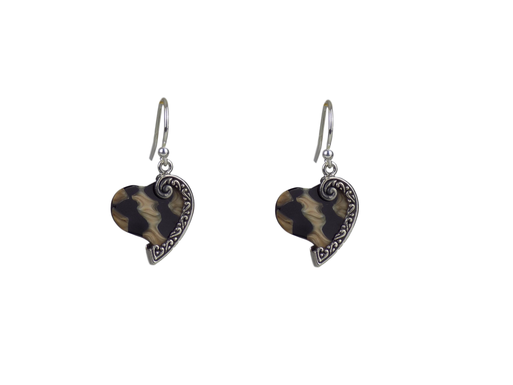 Large Spider Shell and Sterling Silver Heart Earrings