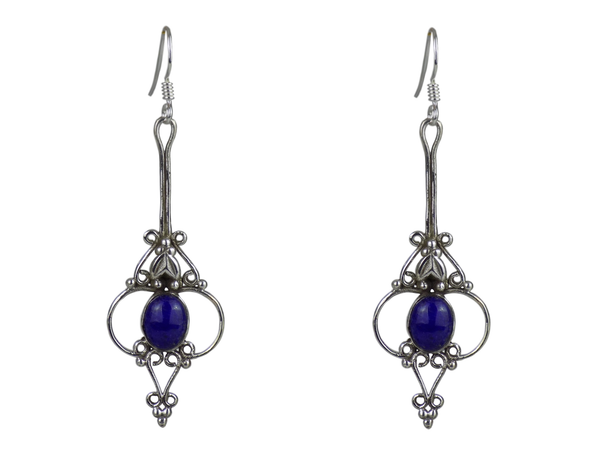 Long Drop Silver Cage Earrings Lapis Lazuli