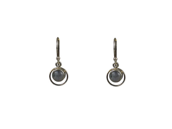 Labradorite Round with Hoop Surround  Sterling Silver Earrings