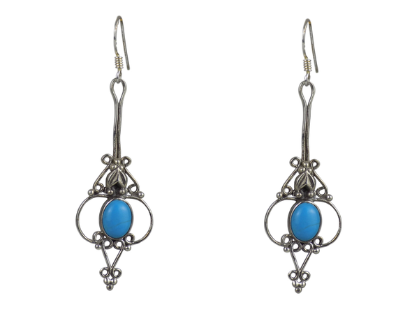 Long Drop Silver Cage Earrings Turquoise