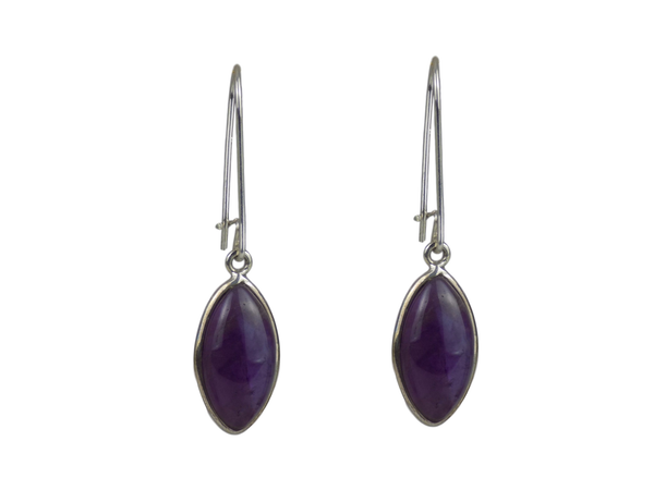 Large Pointed Teardrop Earrings Amethyst and Silver