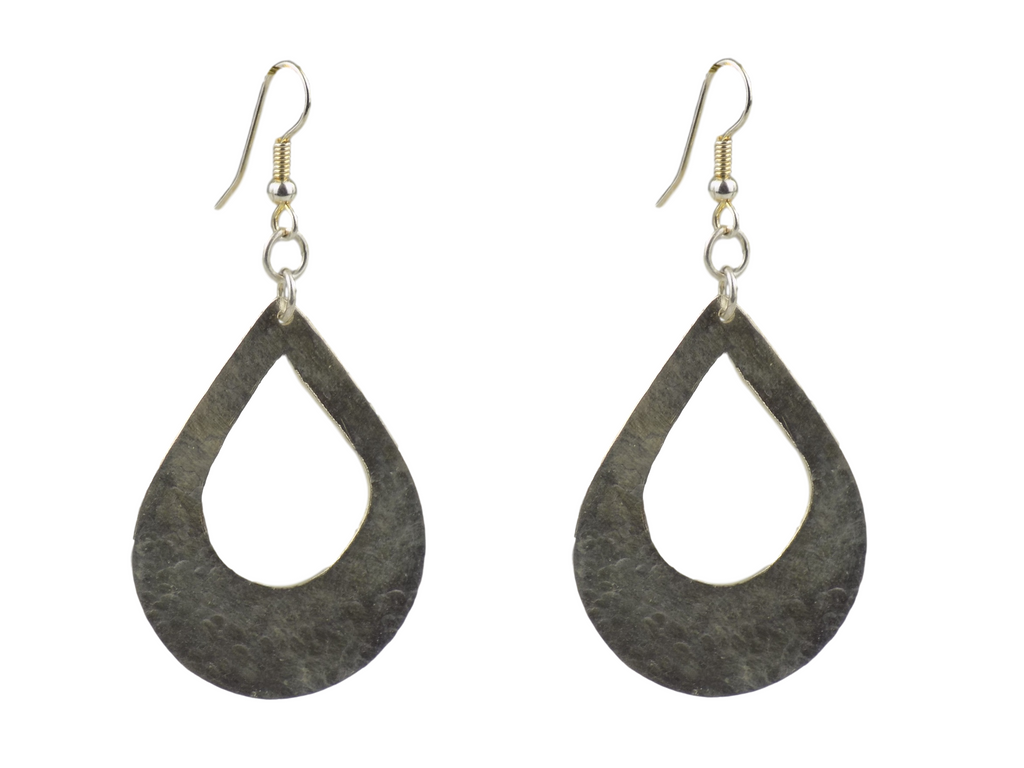 Large Teardrop with large Cutout Silverplate Brass Earrings