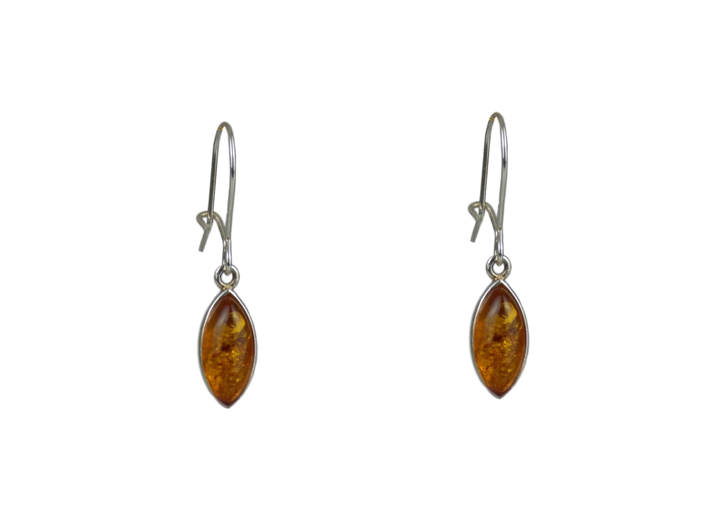 Pointed Teardrop Earrings with Fastening Amber and Silver