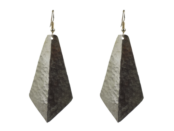 Large Kite Design Silverplate Brass Earrings