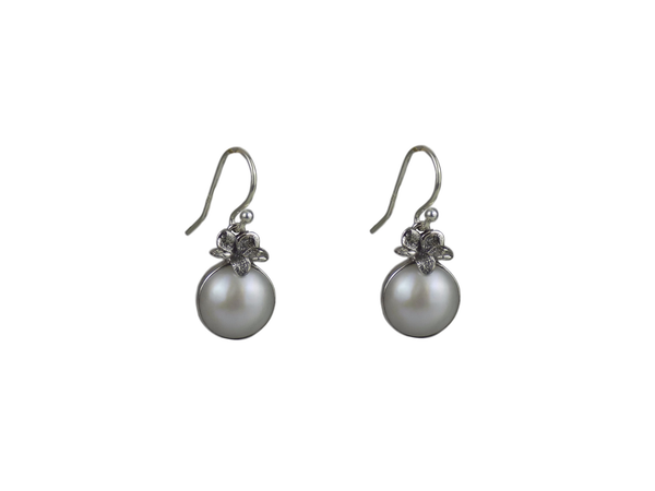 Pearl and Sterling Silver Earrings in Berry Shape