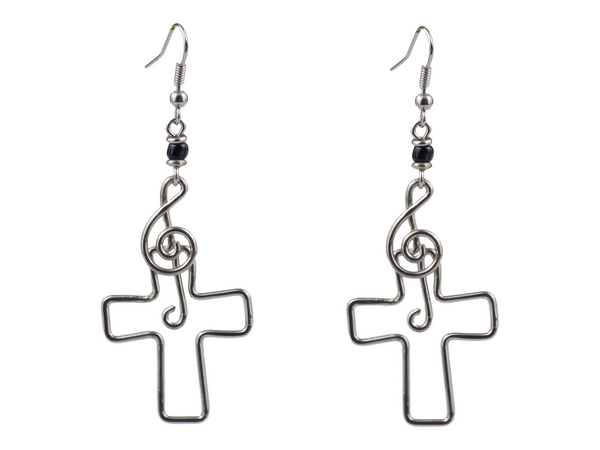 Cross Design Silverplate Brass Earrings