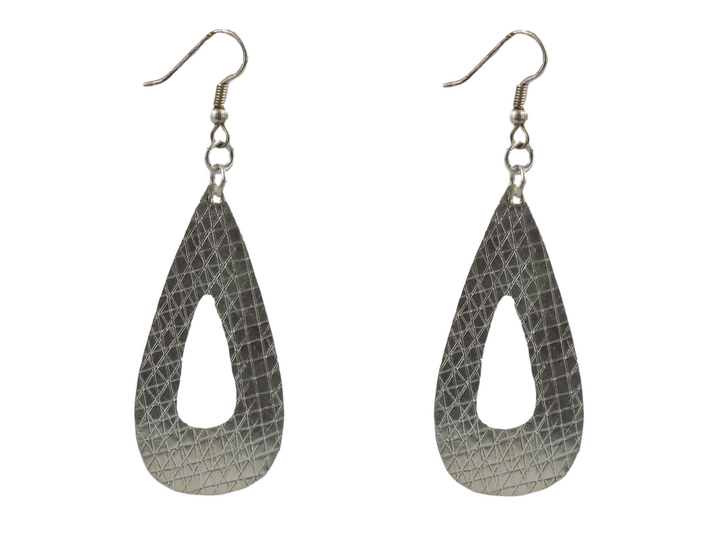 Small Teardrop with Cutout Silverplate Brass Earrings