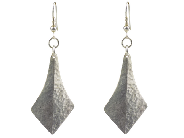 Kite Shaped Silverplate Brass Earrings
