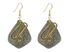 Kite Design Silverplate with Brass Decoration Earrings