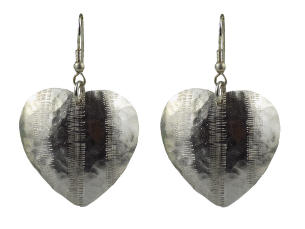 Heart-shaped Silverplate Brass Earrings