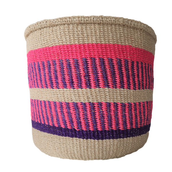XL Pink, Purple and Cream Handmade Kenyan Basket