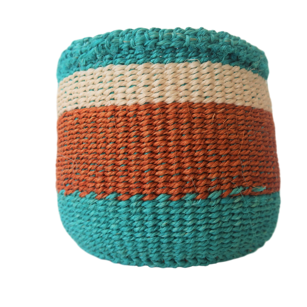 XS Teal, Cream and Brown Kenyan Basket