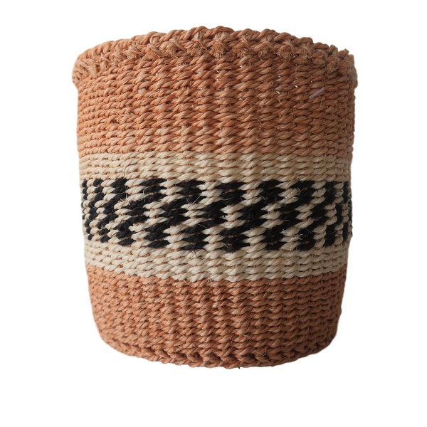 XS Cream, Black and Natural Handmade Kenyan Basket