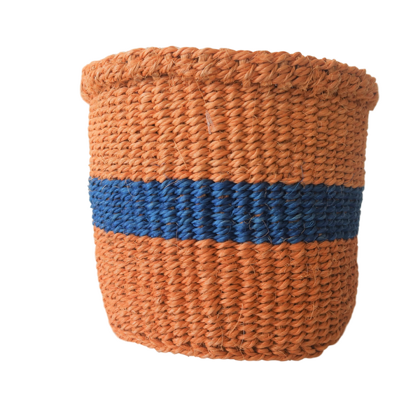 XS Blue and Brown Handmade  Kenyan Basket