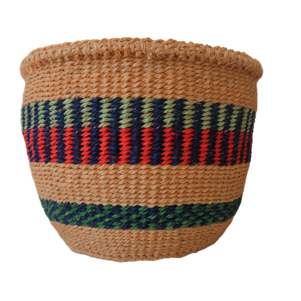 XS Green, Blue, Red and Natural Handmade  Kenyan Basket