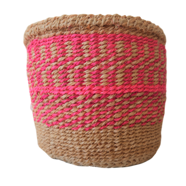 XS Pink and Natural Handmade  Kenyan Basket