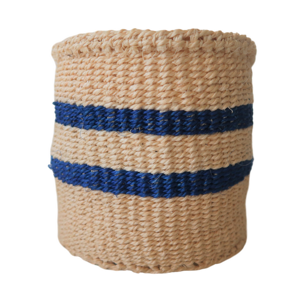 XS Blue and Cream Handmade  Kenyan Basket