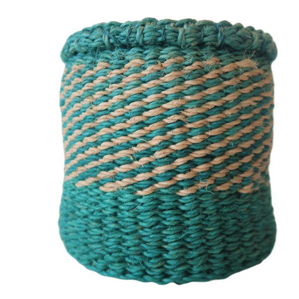 XS Teal  and Cream Handmade  Kenyan Basket