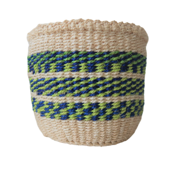 XS Blue, Green and Cream Handmade Kenyan Basket