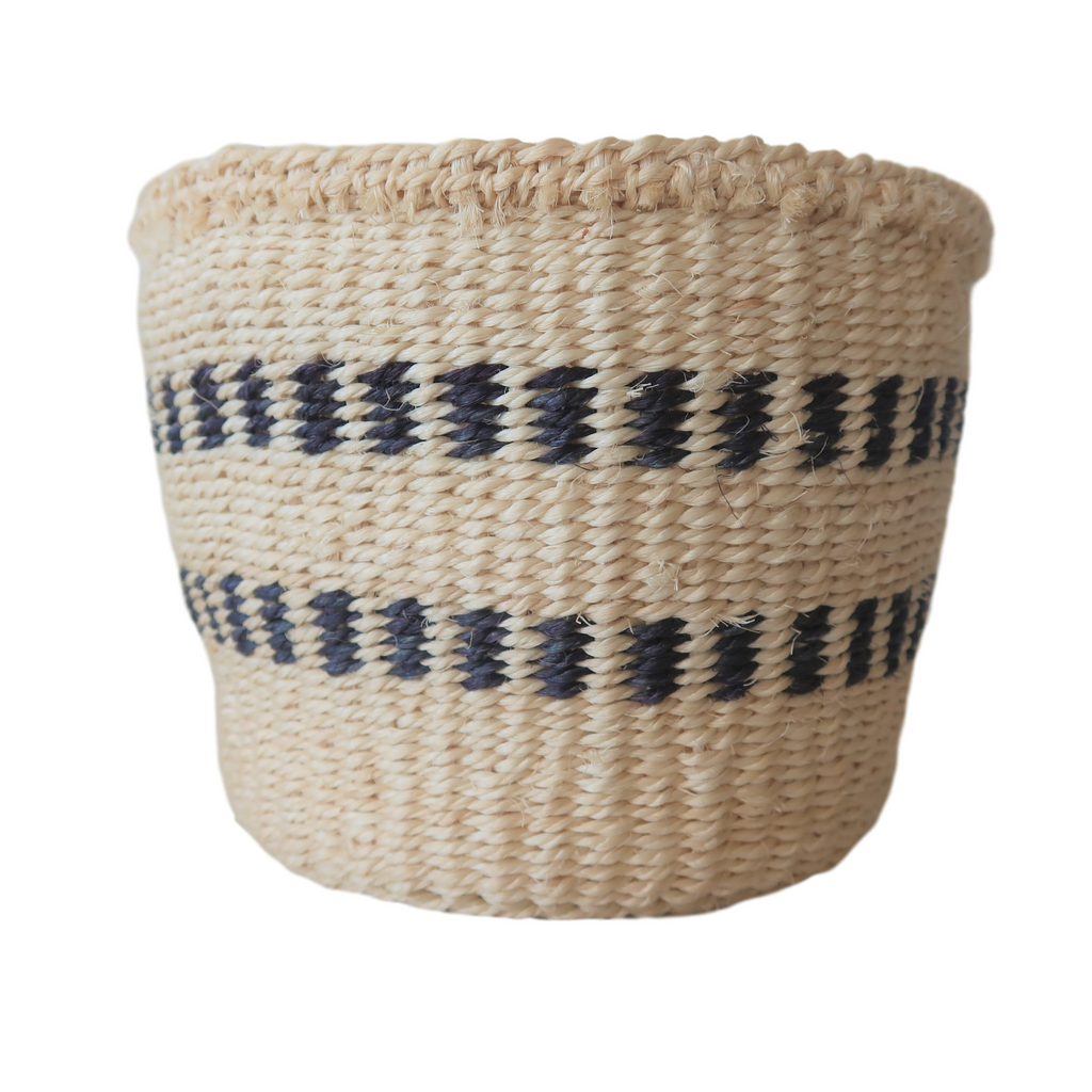 XS Black and Cream Handmade Kenyan Basket