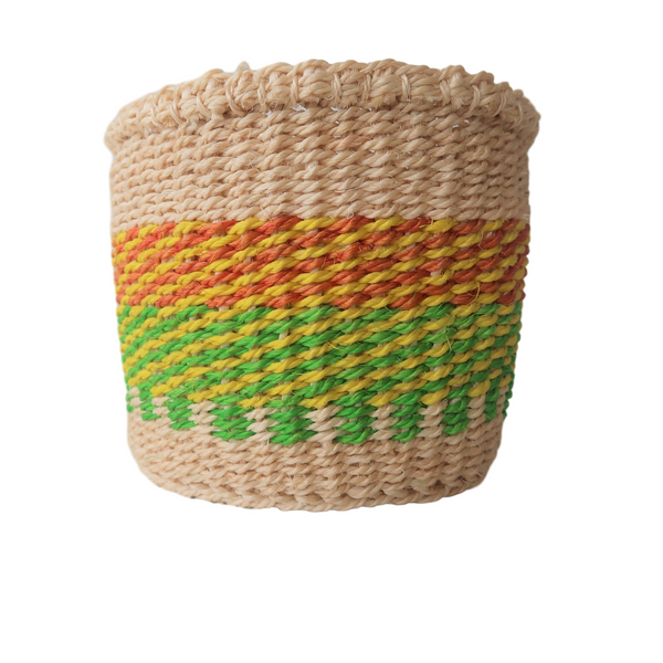 XS Green,Yellow and Brown Handmade Kenyan Basket