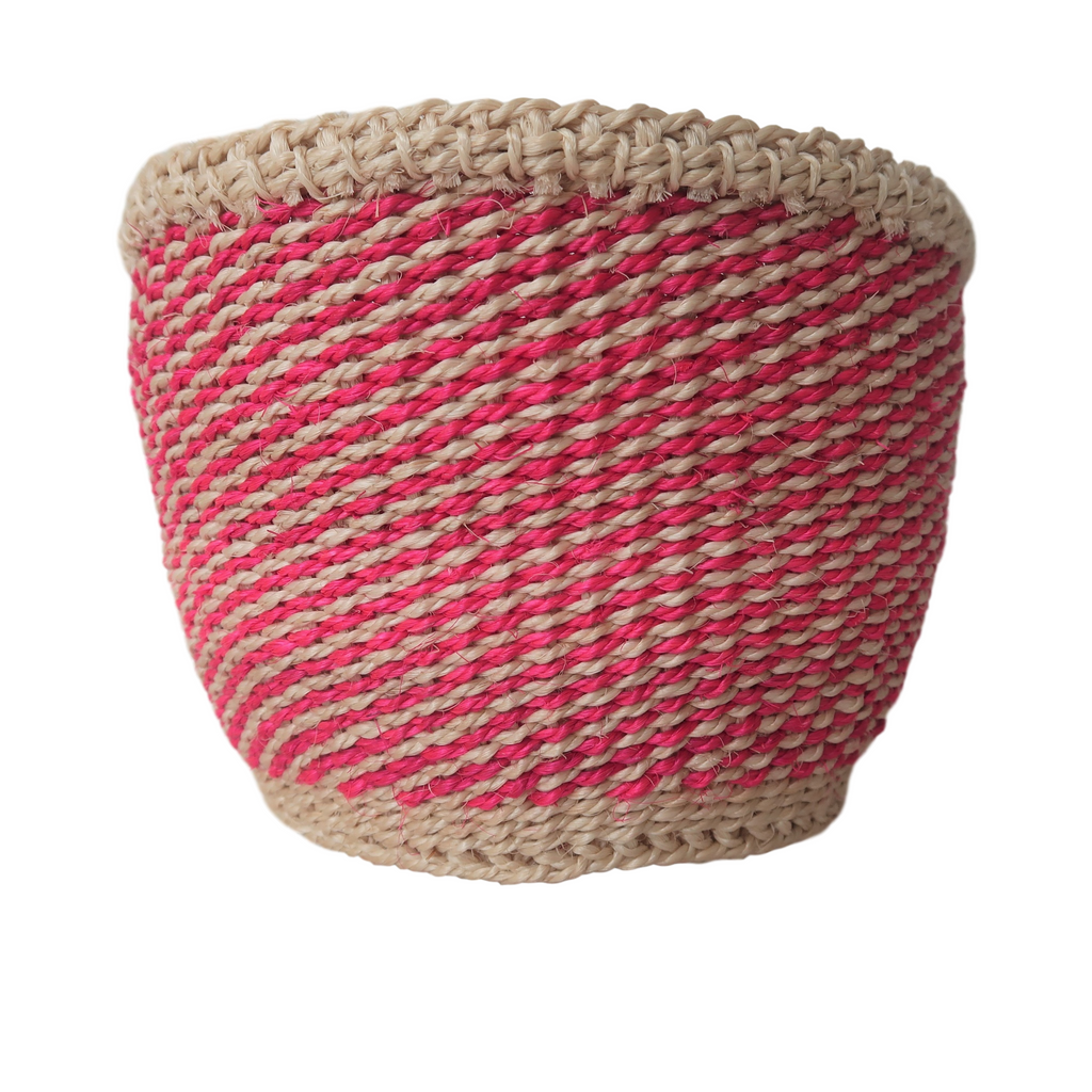 XS Pink and Cream Handmade Kenyan Basket