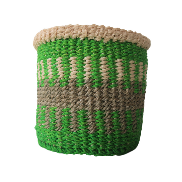XS Green, Grey and Cream Handmade Kenyan Basket