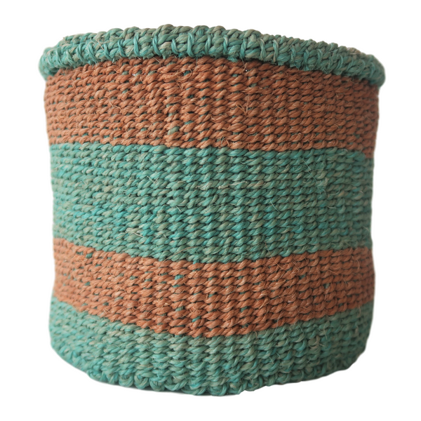 XS Turquoise and Brown Handmade Kenyan Basket