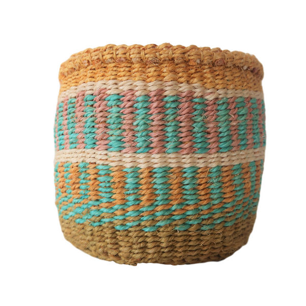 Sm Turquoise, Cream and Brown Handmade Kenyan Basket