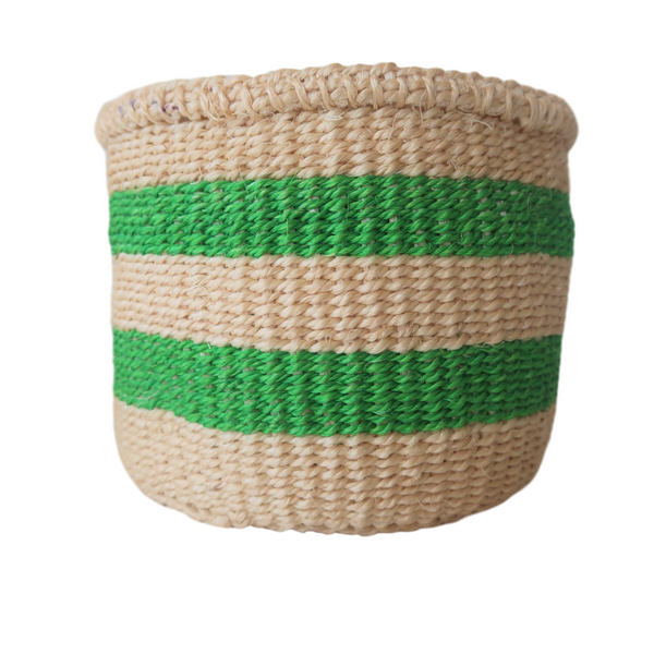 XS Green and Cream Handmade Kenyan Basket