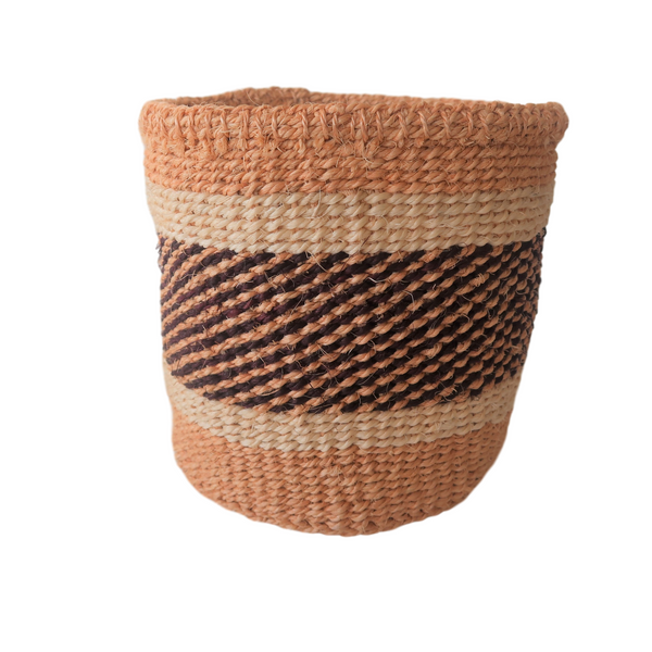 XS Black, Brown and Cream Handmade Kenyan Basket