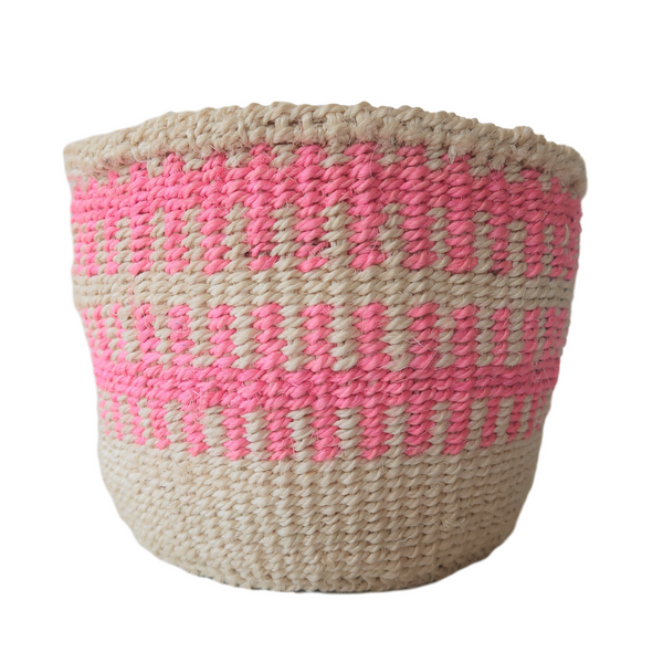 XS Cream and Pink Handmade Kenyan Basket