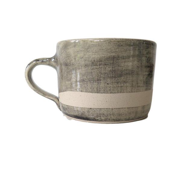 Handmade Wonki Ware Squat Mug - Graphite Wash with Wax line
