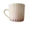 Handmade Wonki Ware Large Mug Cream with Aubergine Vertical Stripes