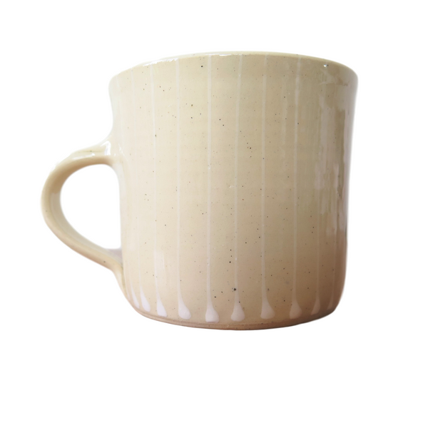 Handmade Wonki Ware Large Mug Cream with White Vertical Stripes