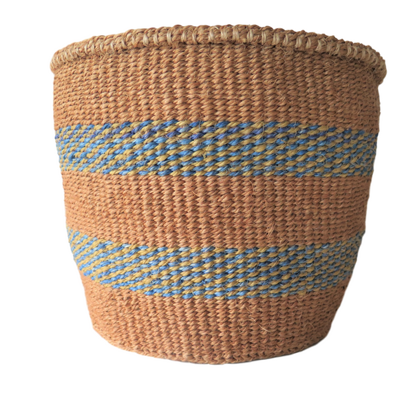 Medium Blue and Natural Handmade Kenyan Basket