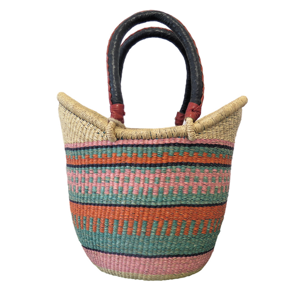Pink Purple Green and Orange Ghana Basket - Large, Nyariga
